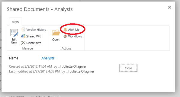 Set up alerts in SharePoint 2013