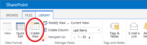 Creating a SharePoint document library view